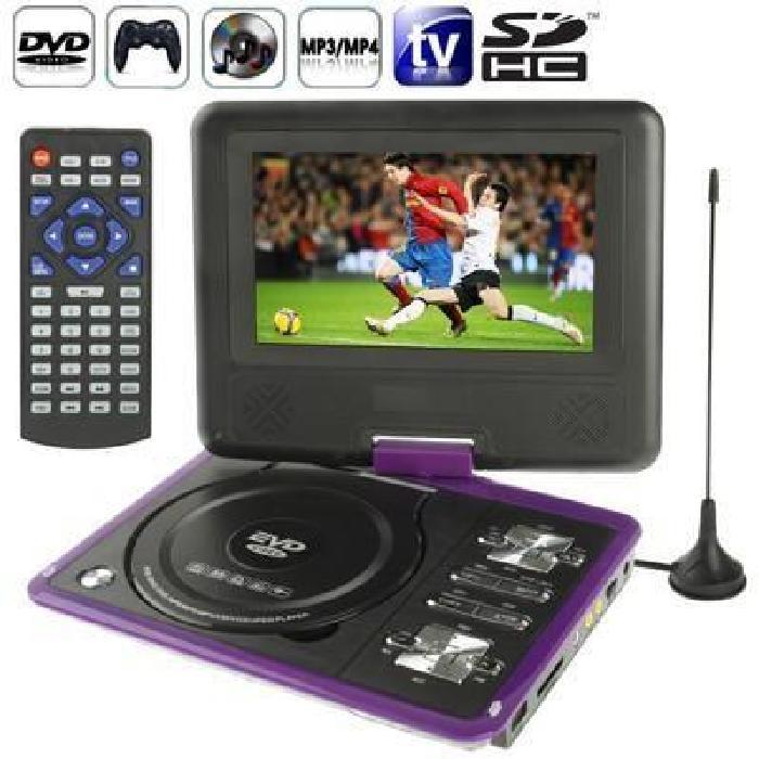 DVD rose Console jeux portable 7 pouces (MP3,MP4,TV,SD,USB) lecteur