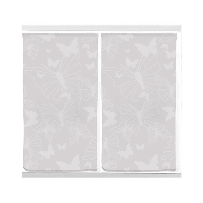 Paire de rideaux brise bise 45×90 cm PAPILLON Gris Paire de rideaux