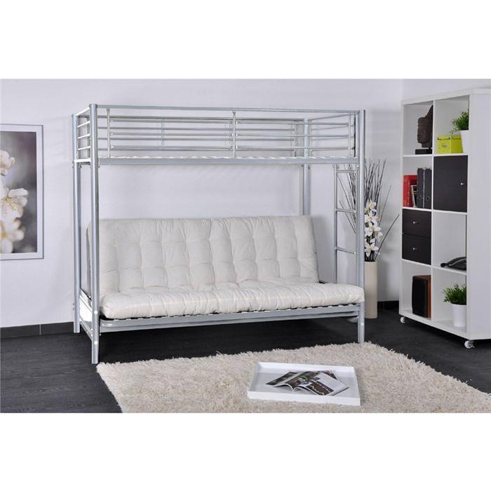 En métal époxy + un futon écru, épaisseur 12 cm en fibre polyester