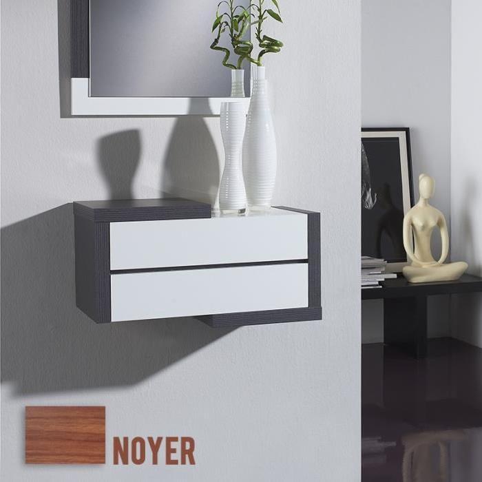 Meuble d'entrée avec miroir VOLCA Noyer / Blanc Achat / Vente