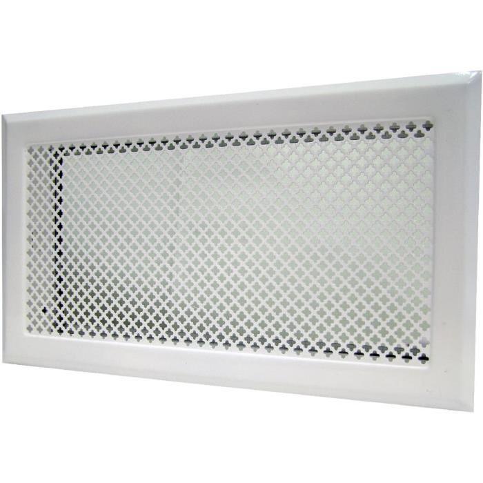 grille de cheminée avec précadre dmo blanc 345×195 Achat / Vente