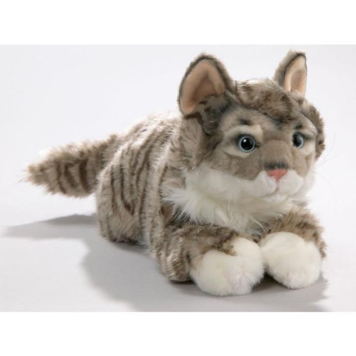 Chat Peluche couché tigré gris, 35cm [Jouet] Chat Peluche couché