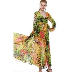 Robe portefeuille florale à manches longues verte vert Achat