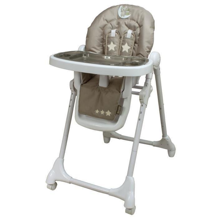 LOOPING Chaise Haute Télescopique Lune Câline Taupe et blanc Achat