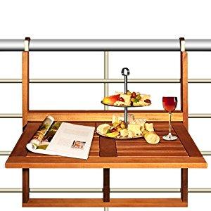 Table de balcon en bois rabattable suspendue balcon terrasse 64 x 45 x