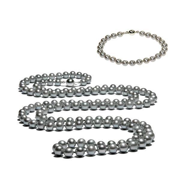 Perles de culture Argent Collier long et Bracelet en perles de