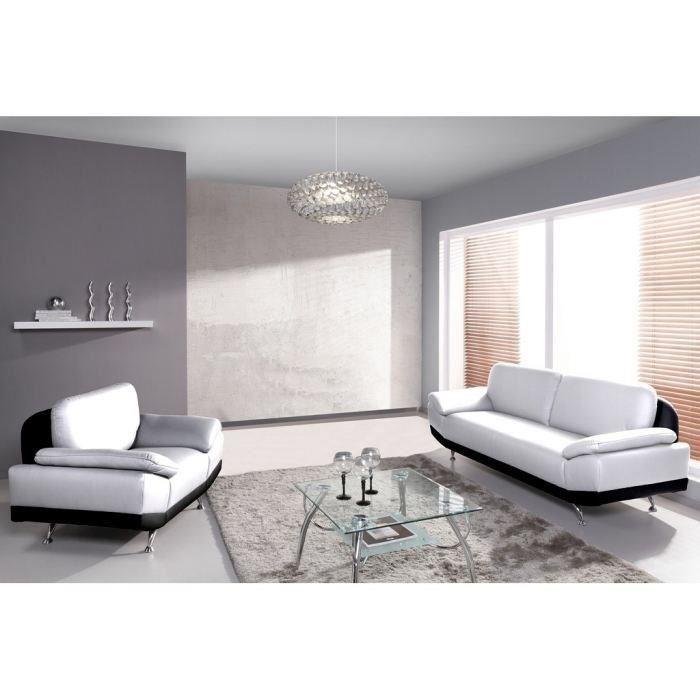 SALON COMPLET PARTNER Ensemble canapé fauteuil 3+1 noir et blanc