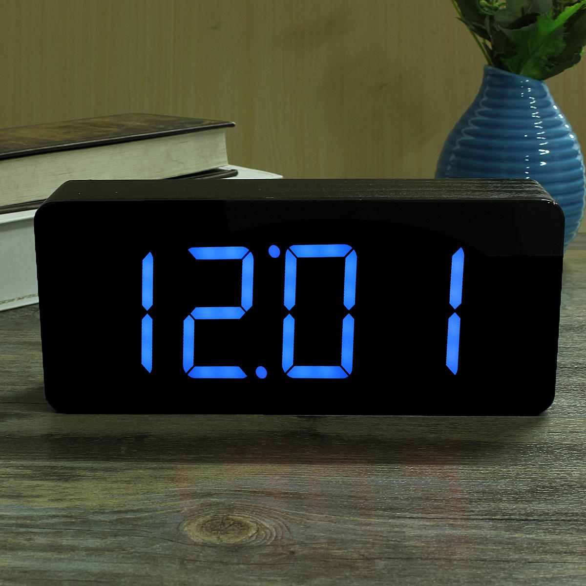 Acrylique Miroir Alarme Reveil Horloge LED Bois Numerique Temperature