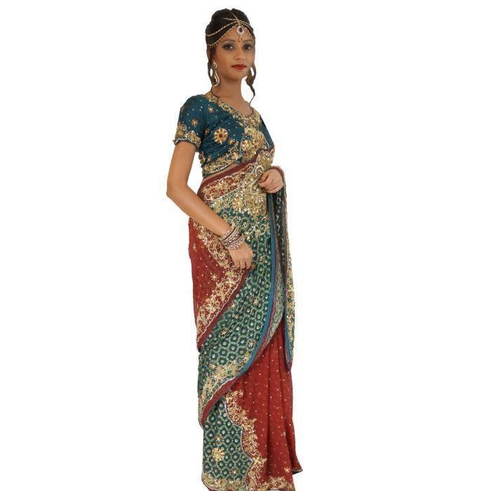 Robe Mariée Bollywood T36/42 Sari Indien Bordeaux Achat / Vente
