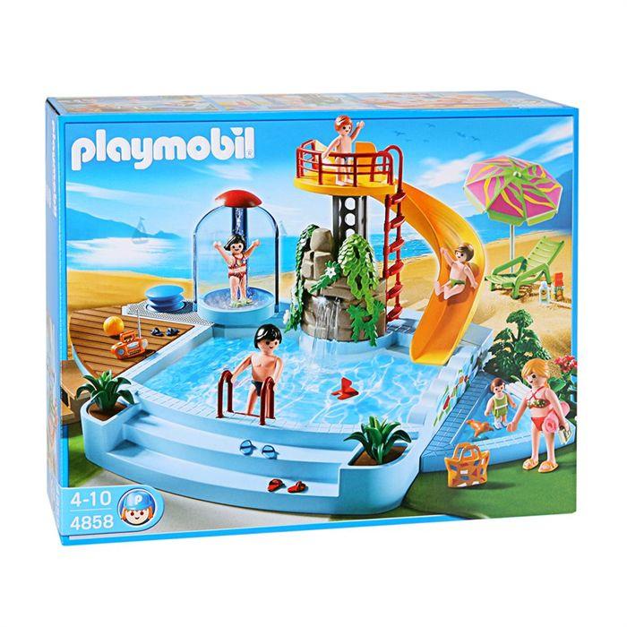 PLAYMOBIL 4858 Piscine et toboggan Achat / Vente univers miniature