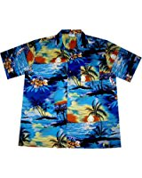 Chemise Hawaienne Homme « Beach Time » 100% coton, taille M 3XL, bleu