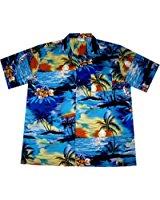 Chemise Hawaienne Homme «Beach Time» 100% coton, taille M 3XL, bleu
