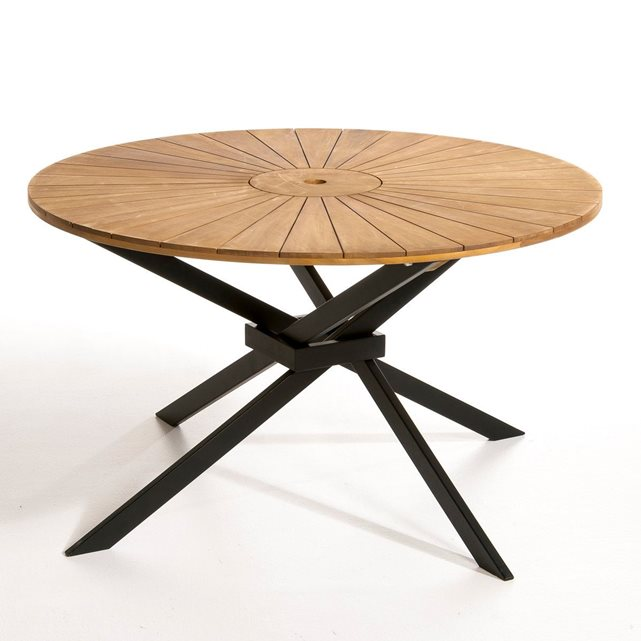 Table de jardin ronde en teck - TopiWall