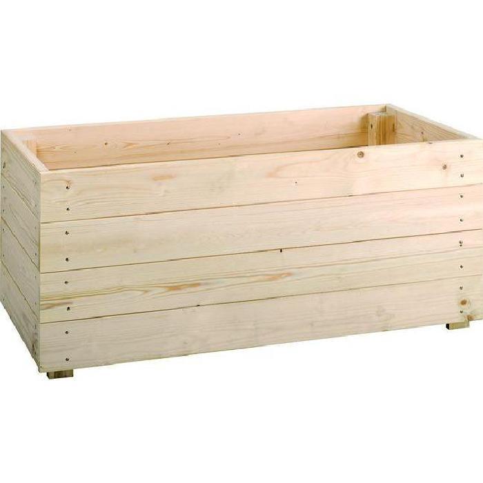 Bac à plantes rectangulaire en sapin 45x90xH40 cm ESSENCIA Tek import