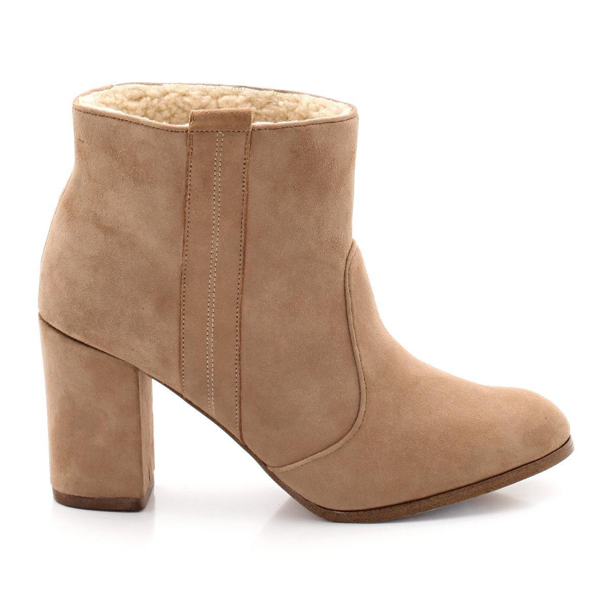 Boots en cuir fourrées Soft Grey
