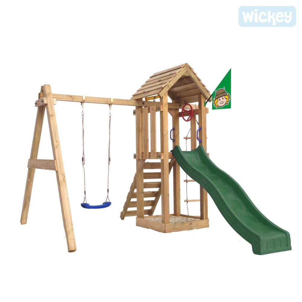 WICKEY Tarzan's Hut Portique Aire de Jeux en Bois Toboggan
