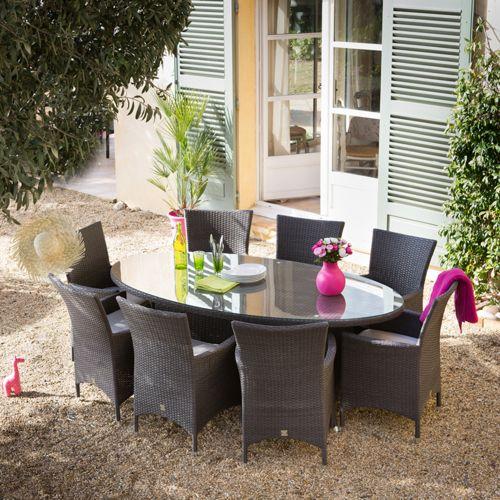 Salon jardin 8 places Résine tressée Cacao Table ovale 200cm 8