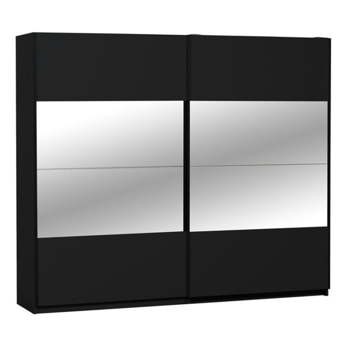 Armoire dressing Noire 2 portes CANYON L 260 x l 65 x H 223 cm