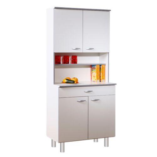 Buffet de cuisine 4 portes 80x44x181cm coloris blanc pas cher Achat