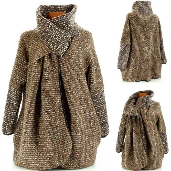 Manteau femme laine zippe