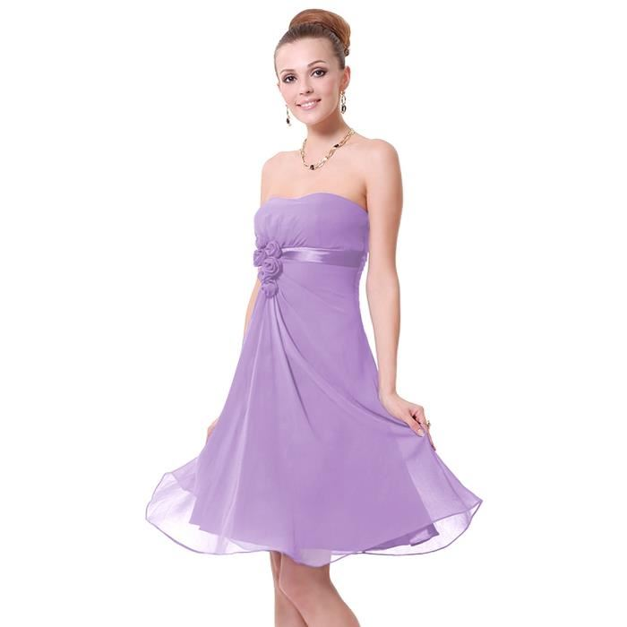 Robe de soiree bustier violette