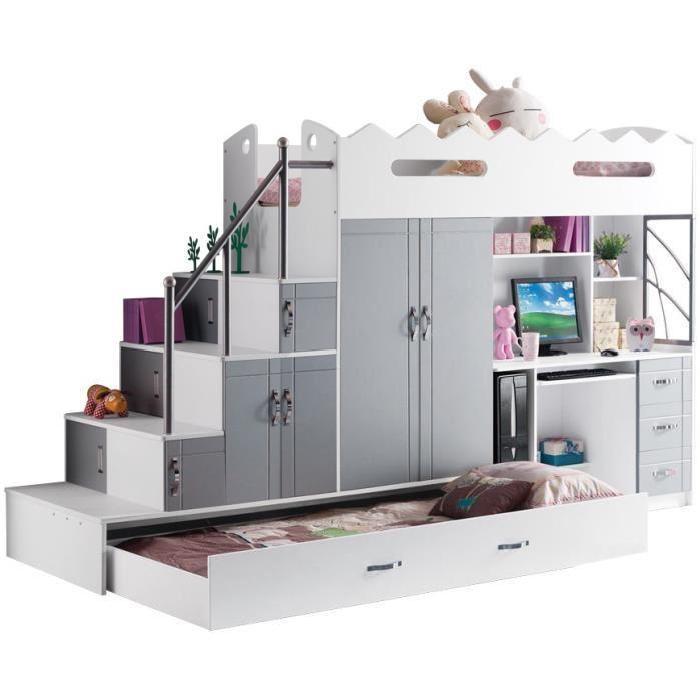 Lit mezzanine multifonction coloris blanc et gris Achat / Vente lit