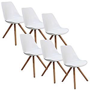 Lot de 6 chaises blanc VELTA PIEDS EN BOIS: Cuisine
