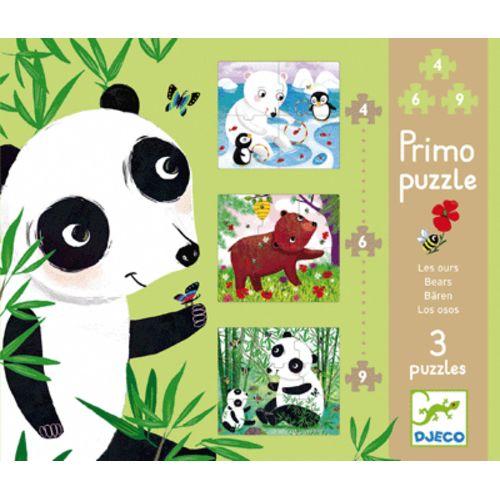 Djeco puzzle primo ours en carton boite de 3 pas cher Achat