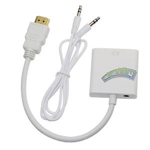 HDMI Male to VGA Female Adapter Video Cord Converter 3 5mm Audio Cable