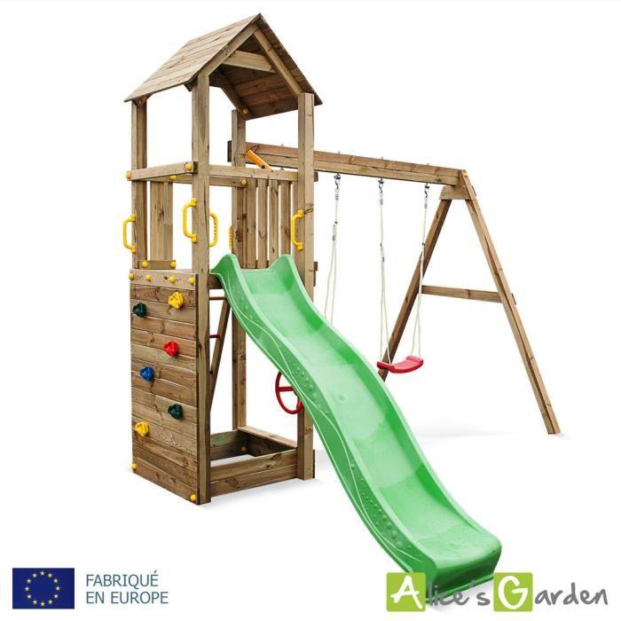 Aire de jeu en bois Nordet 2 agrès avec toboggan, portique pour
