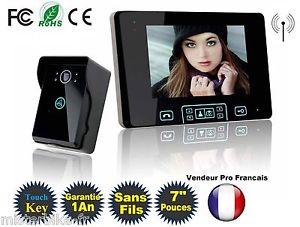 Interphone Visiophone Portier Vidéo Sans Fils Ecran Couleur 7 pouces