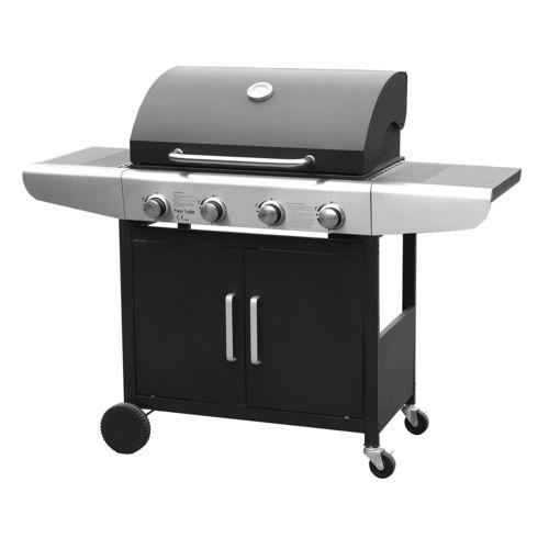 Happy Garden Barbecue au gaz 4 brûleurs 11,4kW, avec thermomètre
