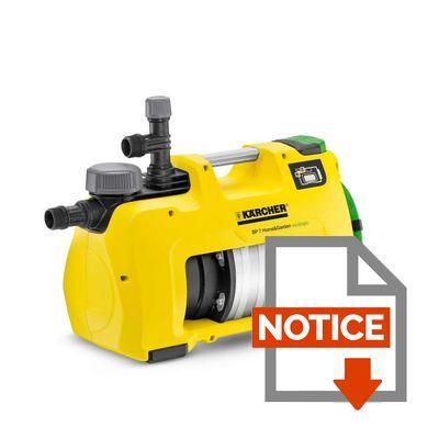Notice KÄRCHER Pompe de surface automatique BP 7 Home&Garden Eco!ogic
