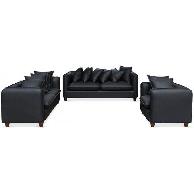 DECLIKDECO Ensemble 2 canapés et 1 fauteuil 3+2+1 places Noir IGUAL