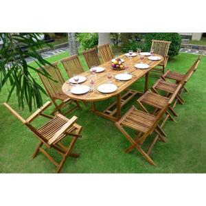 de jardin en bois 8 places Achat / Vente Salon de jardin en bois 8