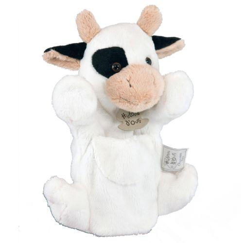 Histoire d'Ours Marionnette peluche Vache blanche 25 cm pas cher