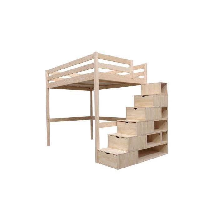 140×200 + escalier cube Achat / Vente lit mezzanine Lit Mezzanine