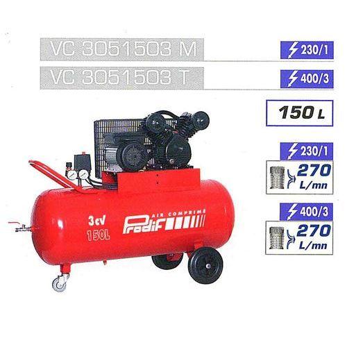 Prodif compresseur courroie bi cylindre v 150 l 3cv vc3051503m pas