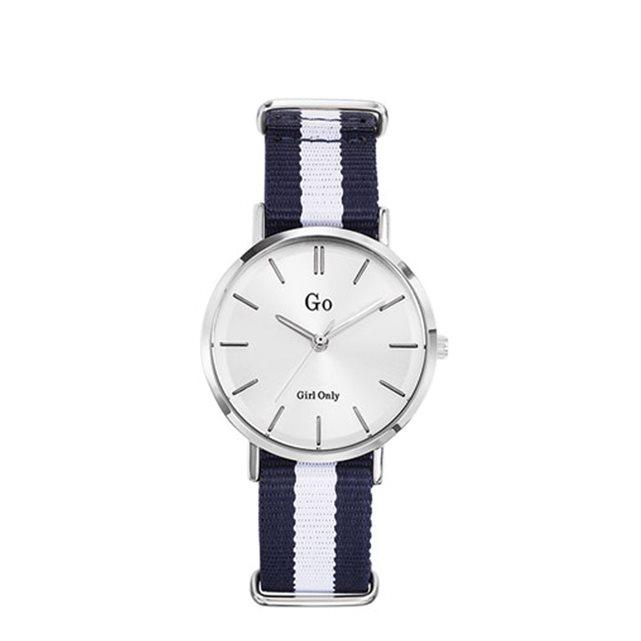 Montre pour femme cadran argenté bracelet tissu bicolore girl only