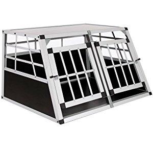 Cage box caisse de transport chien mobile aluminium XXL double