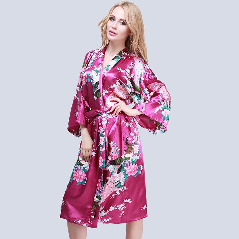 Femme Sexy Peignoir Satin kimono Lingerie Nuisette Robe