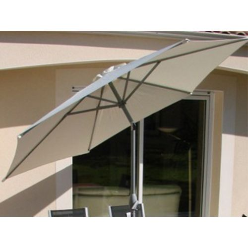 Parasol inclinable aluminium gris à manivelle Ø300cm toile