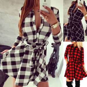 Femme Polo Neck Plaid Belted Bodycon Dress Short Mini Robe Cocoktail