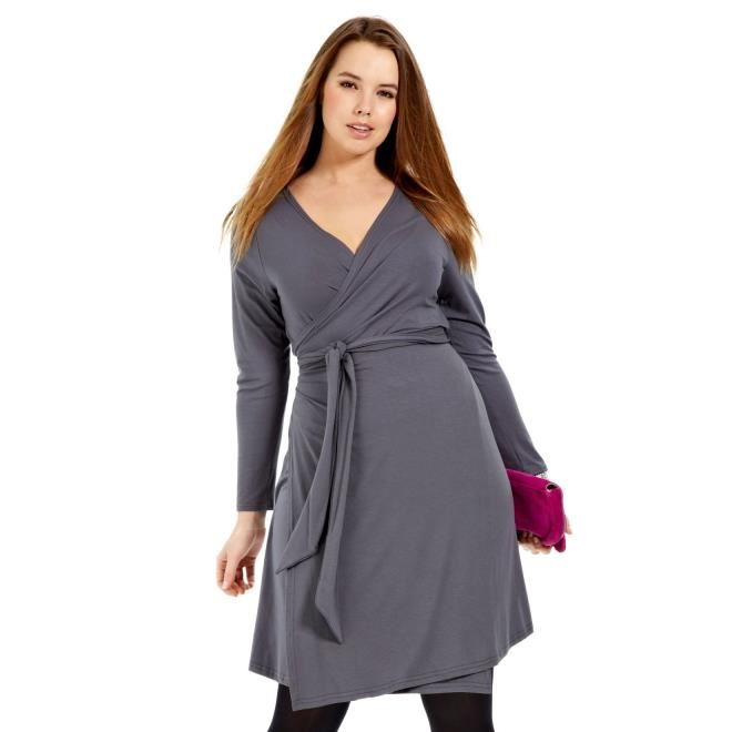 Robe portefeuille grande taille Gris Achat / Vente robe