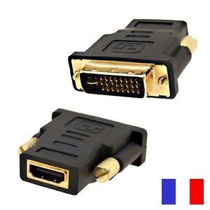 Adaptateur DVI I Mâle vers HDMI Femelle PC TV ECRAN LCD
