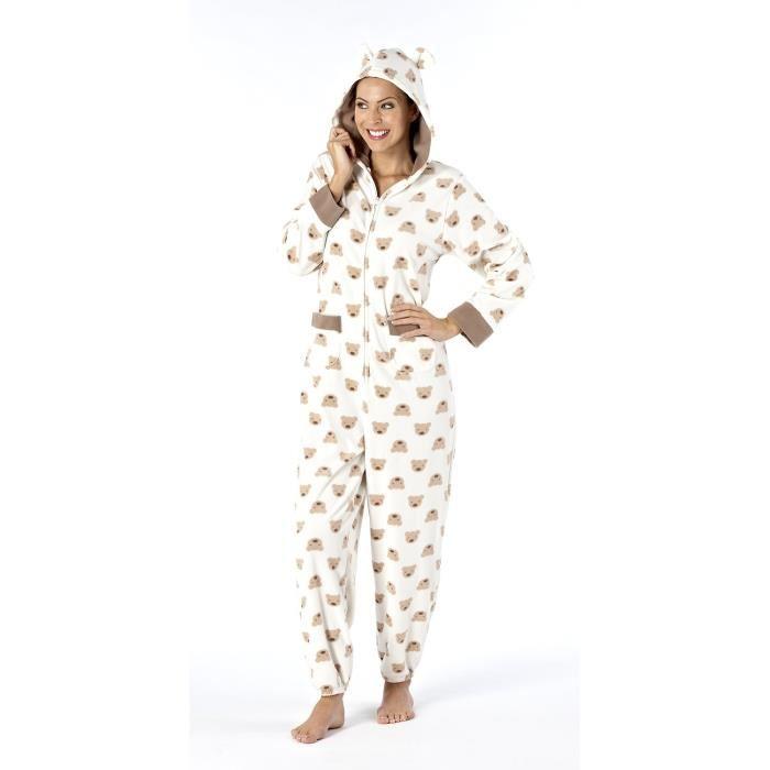 Grenouillère adulte polaire avec capuche Femme pyjama Marr0n