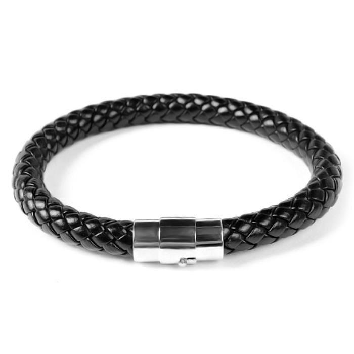 bracelet homme cuir tresse argent bijoux la mode. Black Bedroom Furniture Sets. Home Design Ideas
