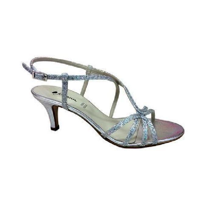 Sandale petit talon glitter argent JOHANN Argent Achat / Vente
