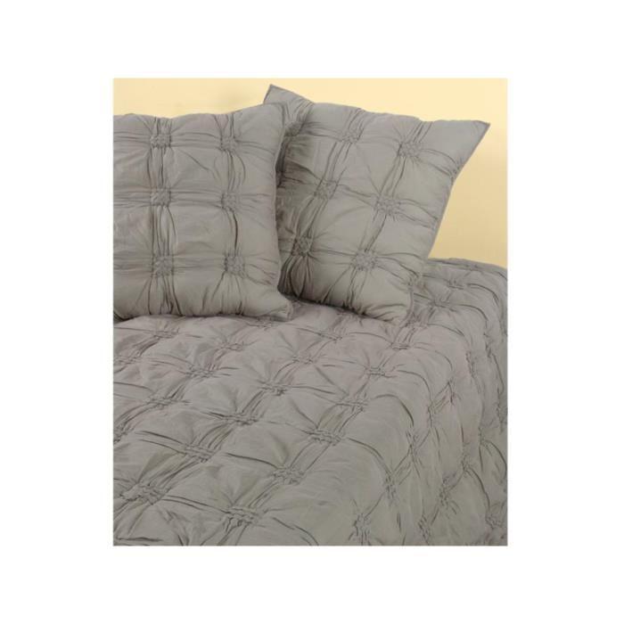 Dessus de lit matelassé CEYLAN Taupe Achat / Vente jetée de lit