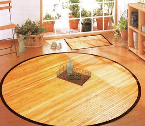 Tapis En Bambou NATURE de forme ronde, Tapis de cuisine, env. 125 cm